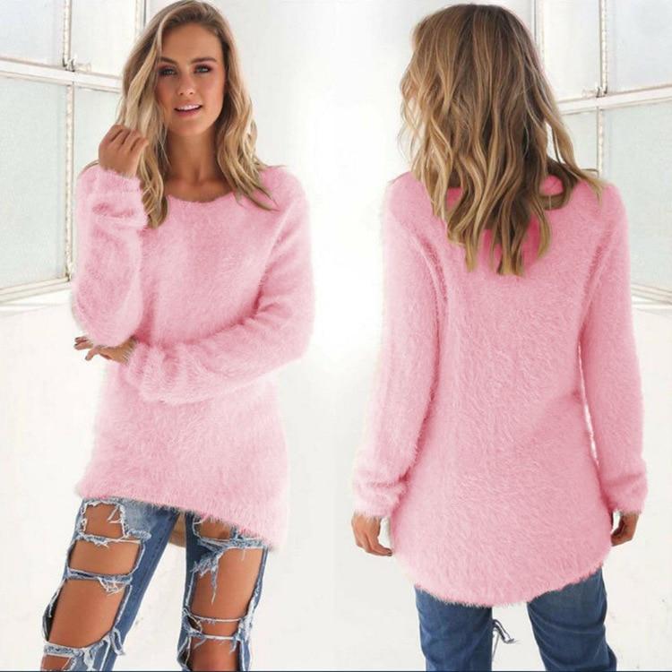 Jerseys de manga larga para mujer, Jersey suelto y peludo, Jersey Casual, de Color sólido, Mohair, Túnica, blusas holgadas