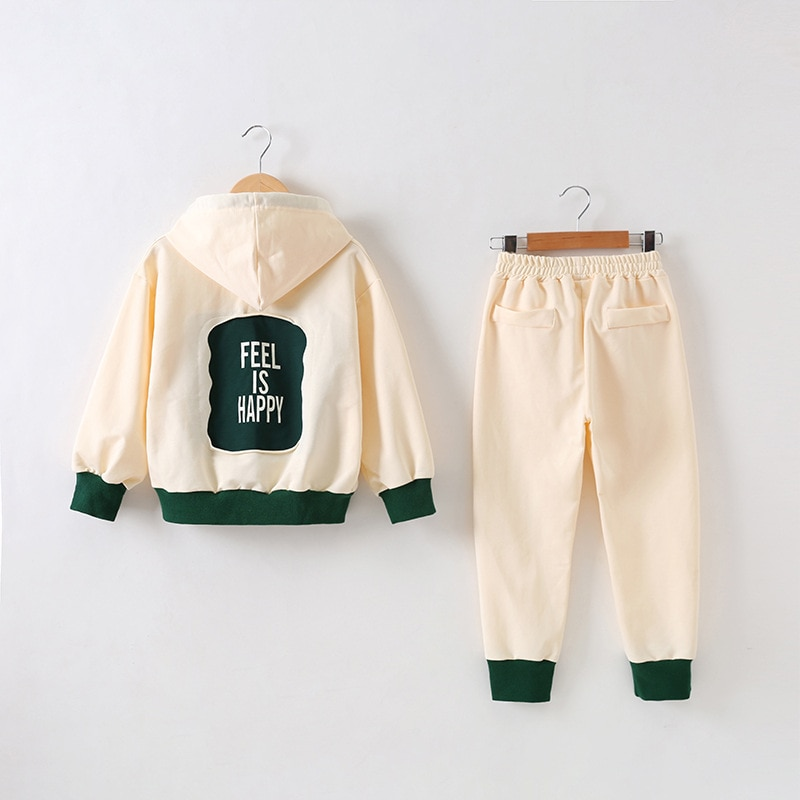 Kids Tracksuit For Girls Spring Autumn Casual Cotton Teen Girl Short Hooded Coat + Pants 2 pcs 6 8 10 12 14 Y Children Clothing