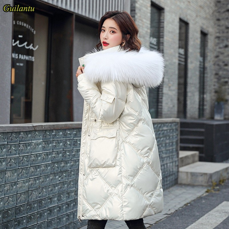 Faux Fur Collar Hooded Parka Mujer Thick Down Cotton Padded Jacket Women Plus Size Casual Windbreaker Long Coat Female Overcoat