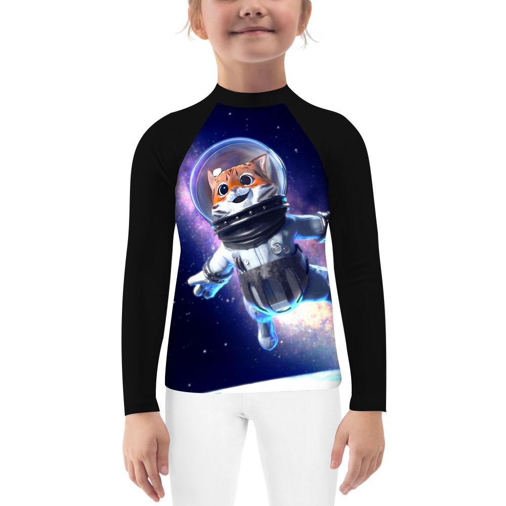 Astronauts Space Cat Cute Kids Long Sleeve Compression Rash Guard Unisex Youth Boys Girls MMA BJJ Jiu Jitsu