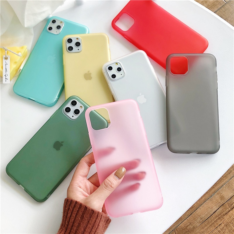 Líquido transparente emulsión mate caja del teléfono de silicona para iPhone 11 Pro XS Max XR 10 8 7 6 6s Plus iPhone11 11pro 8Plus 7Plus cubierta suave