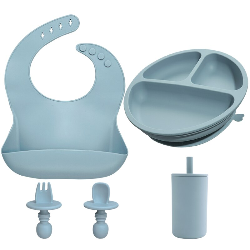 2021 New Child Feeding Set Silicone Suction Cup Separating Dinner Plate Suction Cup Silicone Spoon Non-slip Insulation