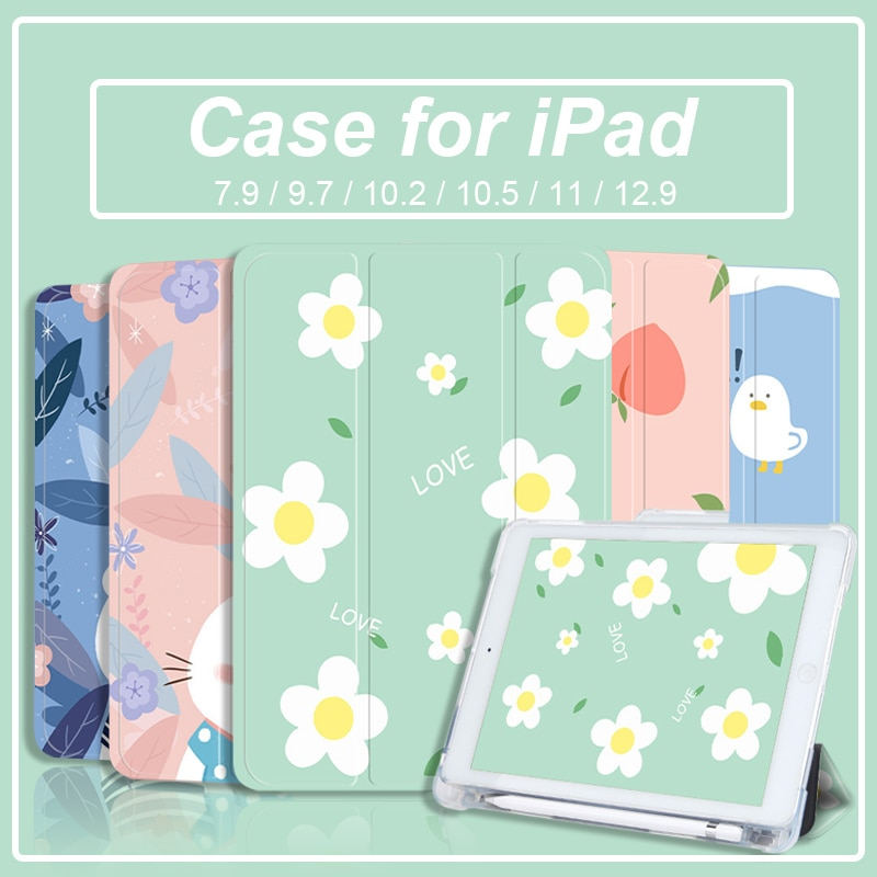 Fall für iPad 8th 7th 6th 5th Generation Air 4 3 2 1 Pro 11 2020 Pro 10,5 Mini 5 4 mit Bleistift Halter Trifold Intelligente Abdeckung