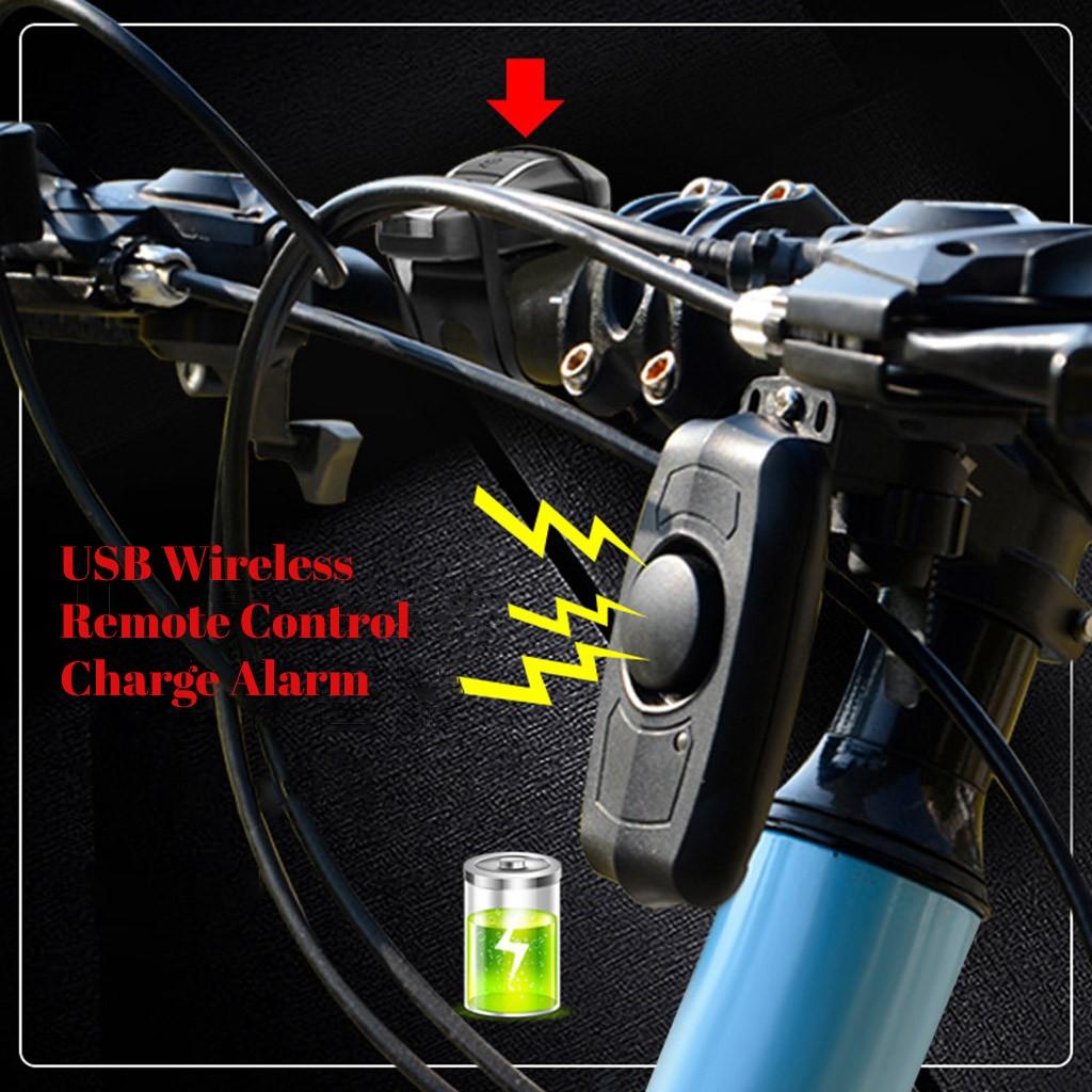 Lámpara trasera para bicicleta, rastreador de bicicletas con bocina, alarma antirrobo, con bocina, carga USB y Control remoto inalámbrico # T3