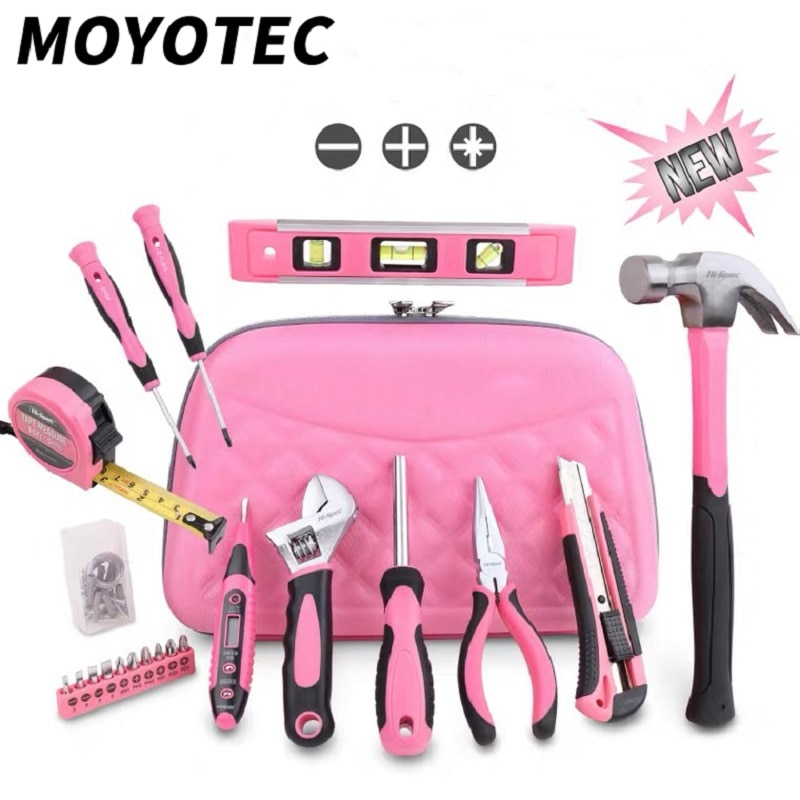MOYOTEC 21PC Pink Tool Set Ladies Hand Tool Set With Easy Carrying Pouch Home Tool Set for DIY Home Maintenance