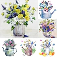 5d diy diamond painting full square round drill flower diamond embroidery kettle flower pot cross stitch home decor manual gift