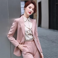 womens pants suit 2020 fall winter design women one button slim office lady work jacket coat pants 2 pieces sets mujer