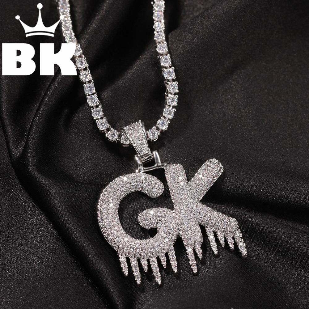 HIP HOP Custom Small Lced Letter Pendant Necklace Combination Words Name With CZ Tennis Necklaces Zirconia Jewelry