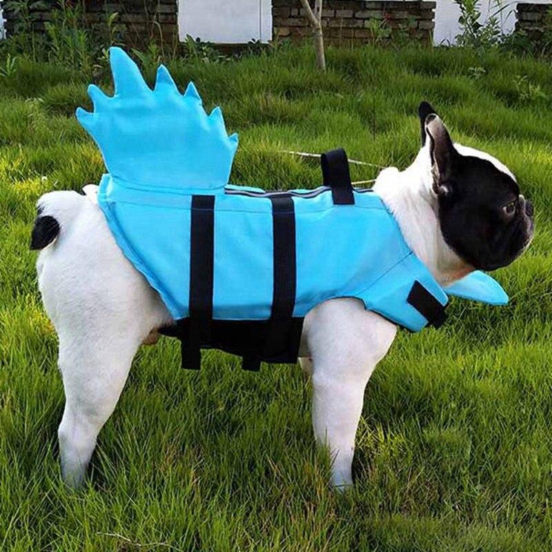 Dragon Tail Dog Life Jacket Safety Clothing Shark Design Pet Life Vest Summer Dog Swimming Clothe French Bulldog Fin Jacket B