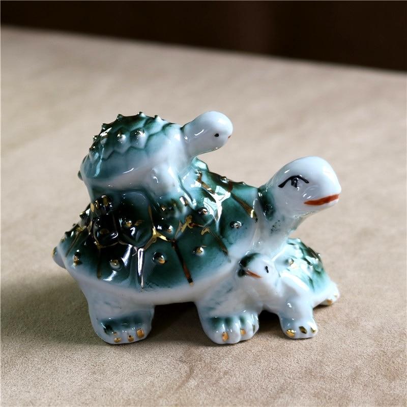 Figurita de tortuga de porcelana, tortuga marina de cerámica, estatua familiar, ANIMAL marino, acuario, Decoración, regalo, accesorios para manualidades artísticas