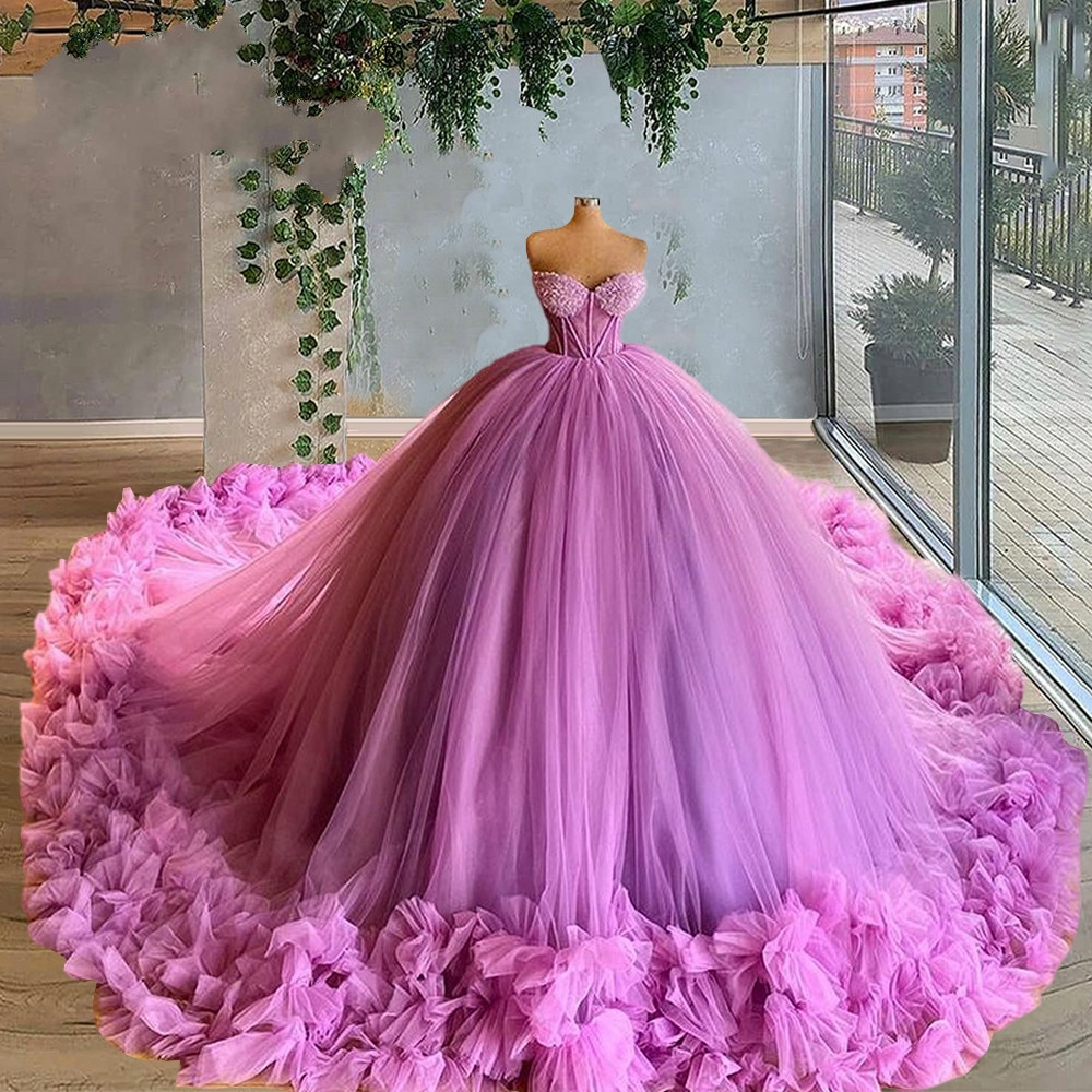 Sweetheart Puffy Prom Dresses 2021 Dubai Design Ball Gown Dress For Weddings Evening Gowns Tulle Tiered Evening Gown Party Night amazing 2020 new prom dresses ball gown tiered ruffled tulle purple unique evening dress strapless celebrity pageant gowns