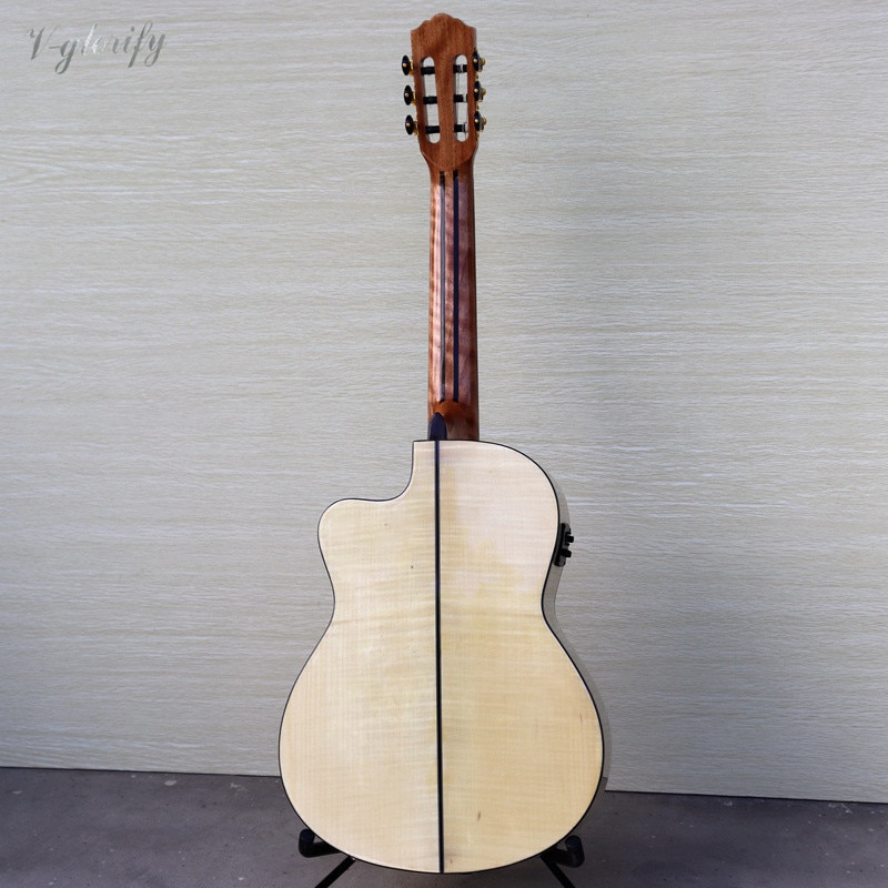 High Grade Classic Guitar 39 Inch Flame Maple Cutway Classical Guitar with Radian Corner Spruce Solid Wood Top with EQ  Guitar enlarge