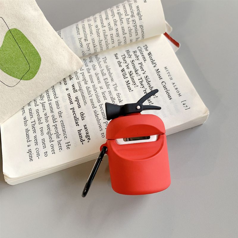 Fire Extinguisher Protective Case Silicone Cover with Carabiner for Airpods 1/2 enlarge