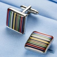 cufflinks copper mens unisex daily casual accessories high quality french shirt suit classic rainbow stripe cuff links gifts