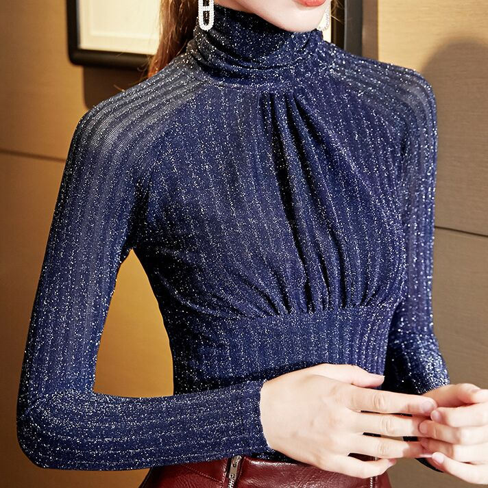 Женская Блестящая Водолазка с длинным рукавом, элегантная эластичная мягкая Сетчатая футболка с высоким горлом, размеры от 1 года до 4 лет