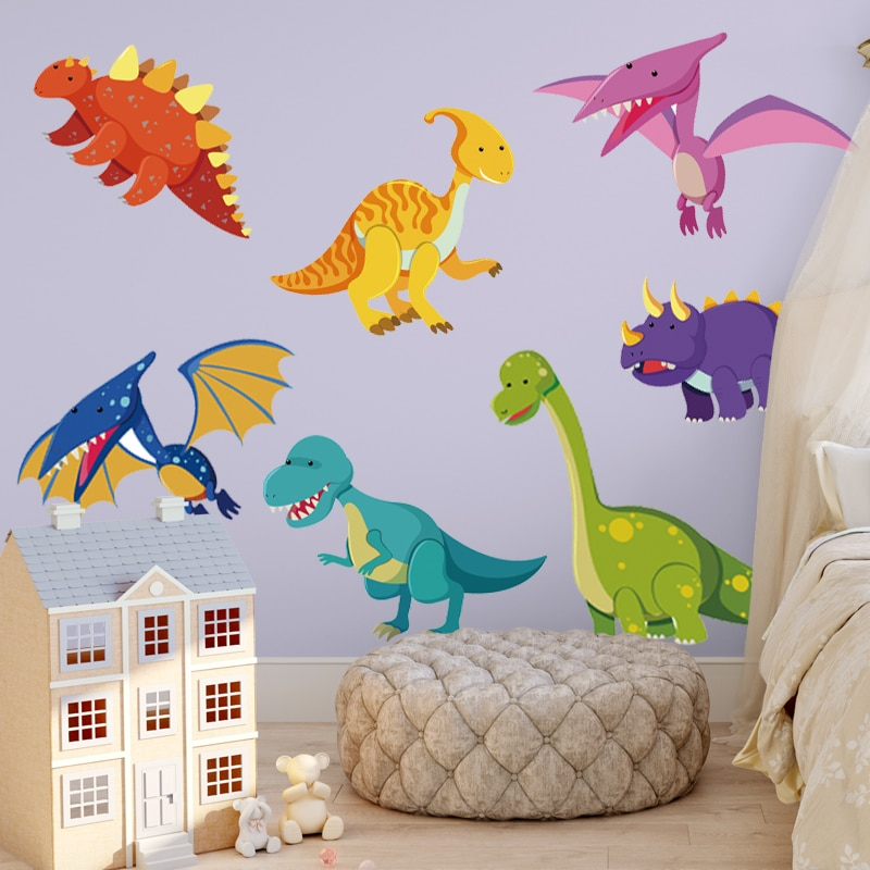 Cute DIY Dinosaur Wall Sticker  Colorful Peel and Stick Animal Wall Decal for Tyrannosaurus Baby Bedroom Playroom  Decoration