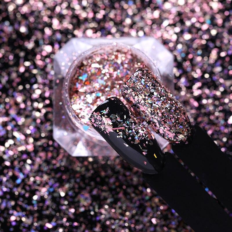 1 caja para decoración de uñas DIY con lentejuelas en polvo de oro rosa con láser para uñas de BORN PRETTY nail Flakies