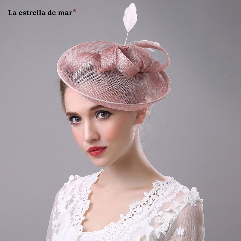 Tocados para novia fasinator, sombrero de lino para banquete, top nupcial, tocado...