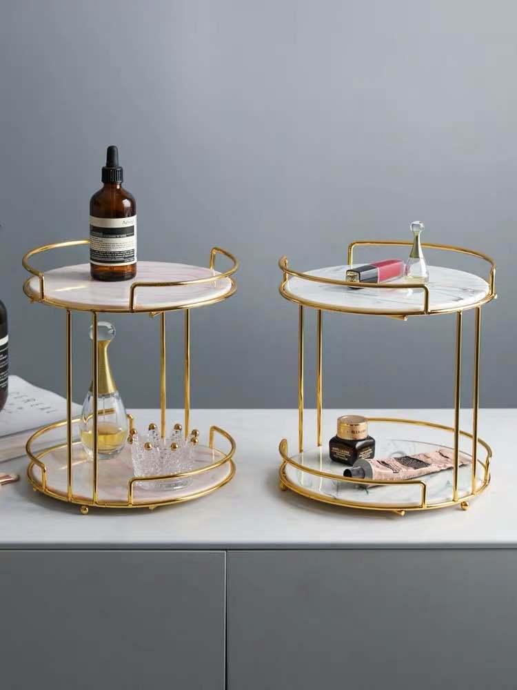 Креативные настольные полки для туалетного столика, скандинавский туалетный столик, двухслойный лоток для хранения косметики, подставка д...