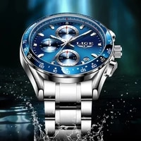 2021 new fashion mens watches stainless steel lige top brand luxury waterproof sports chronograph quartz mens relogio masculino