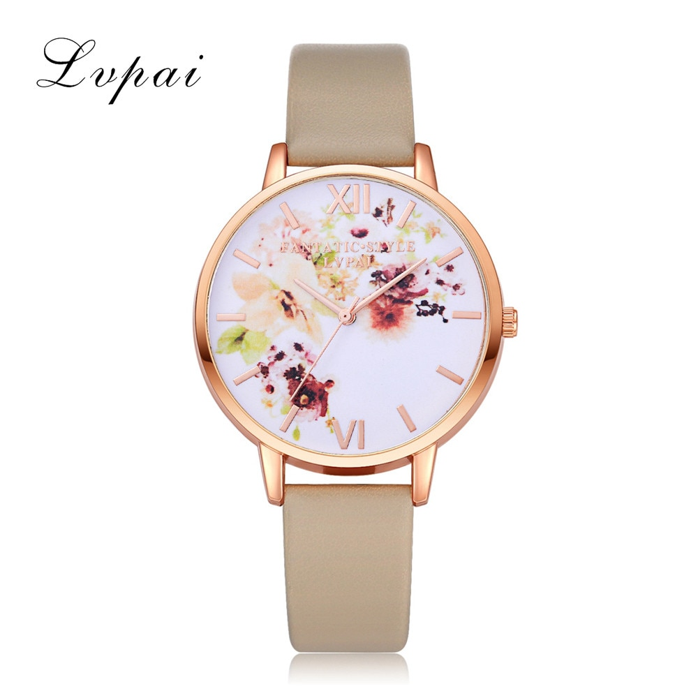 Fashion Women Watches Flower Pattern Quartz Leather Band Watch Analog Quartz Wrist Watch Luxury Dres