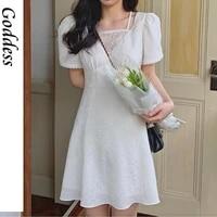summer women lace slim elegant mini dress high waist french vintage dress casual chic short sleeve party korean clothing 2021