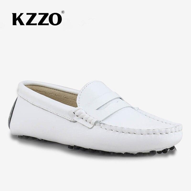 KZZO مقاوم للماء المرأة الشقق 100% جاكيت جلدي حقيقي موضة الربيع حذاء بدون كعب بدون كعب الانزلاق على أحذية قيادة سيدة الأبيض