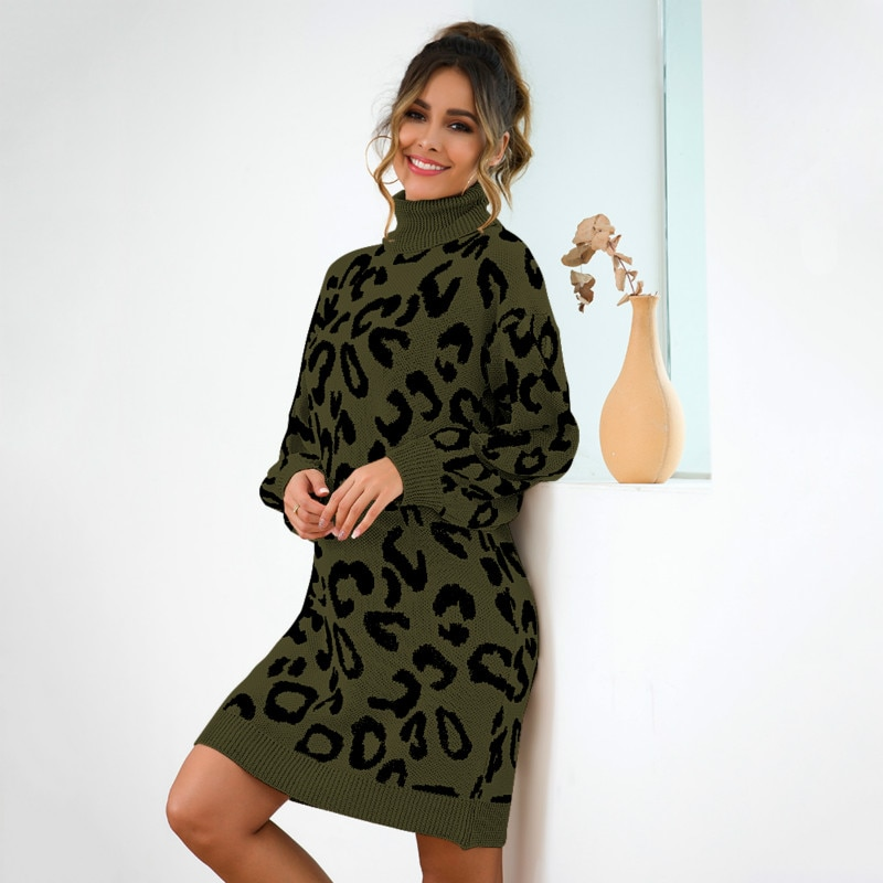 2019 moda mujer Leopard sweaterAutumn Outfit cuello alto tejido de gran tamaño suéteres de talla grande suéter largo Jersey Mujer