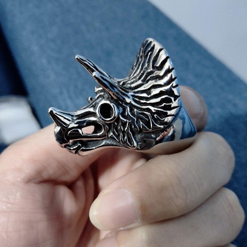 Nuevo anillo Vintage de acero inoxidable rinoceronte Color plata para hombre calavera Biker Rock Roll gótico Punk joyería anillo masculino hip hop