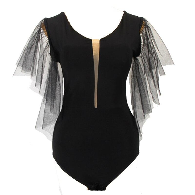 Latin Ballroom Dance Bodysuit Gauze Short-sleeved Practice Mesh V-neck Latin Salsa Dance Top Practice Leotard Y235