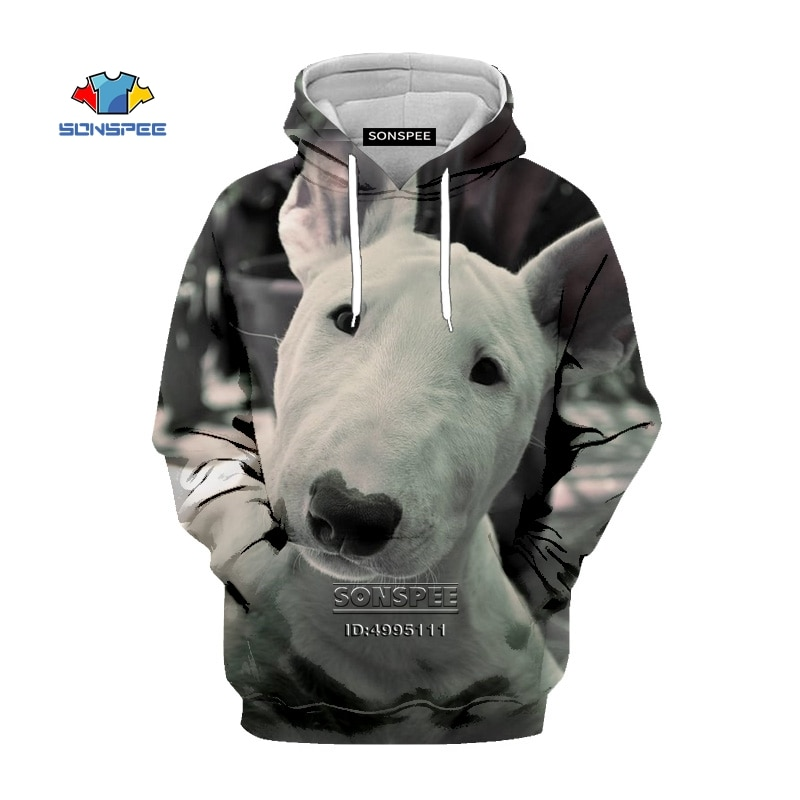 SONSPEE Funny Dogs Bull Terrier Men Hooded Hoodies 3D Print Pit Sweatshirt Women Harajuku Casual Unisex Clothing Tops