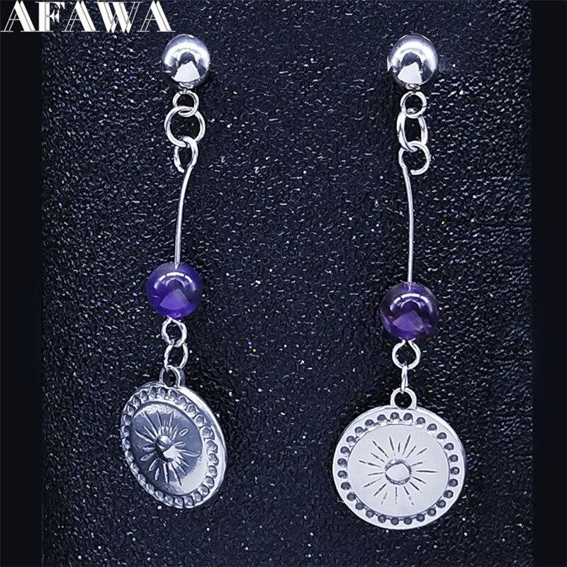 Sun-pendientes de cristal púrpura Natural de acero inoxidable para mujer, aretes pequeños...