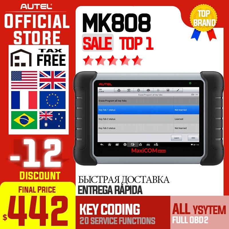 Autel MaxiCOM MK808 OBDII escáner automotriz IMMO EPB SAS BMS TPMS DPF servicio herramienta de diagnóstico MD802 todos los sistemas + MaxiCheck Pro