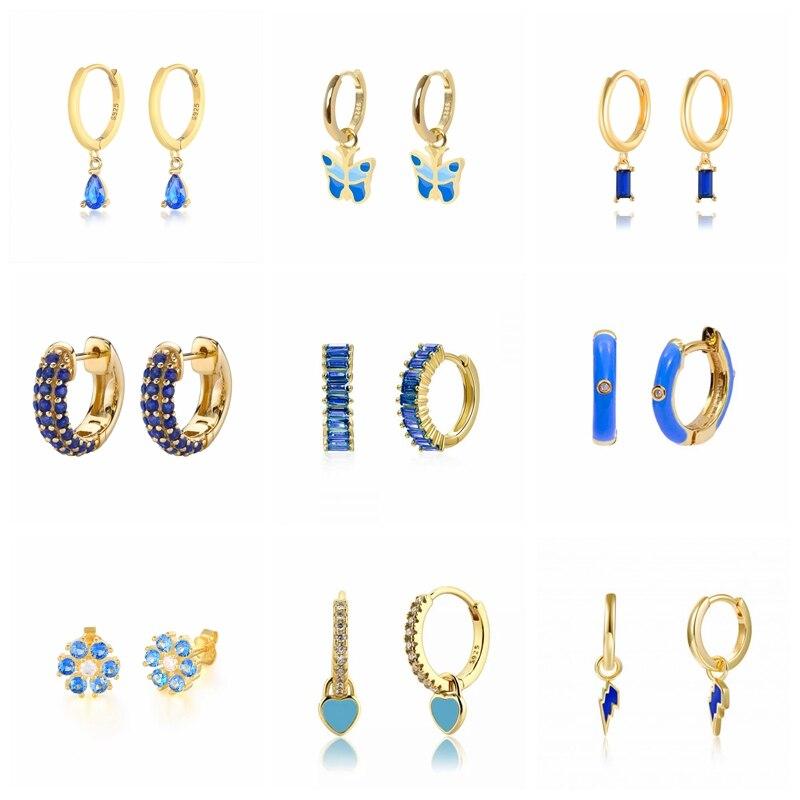 Женские-серебряные-серьги-гвоздики-с-синими-фианитами-aide-925-пробы