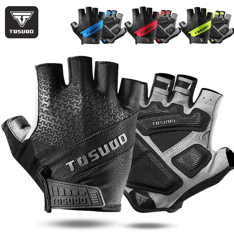 TOSUOD Cycling Bike Half Finger Non-slip Gloves Shockproof Summer Breathable MTB Road Bicycle Men Women Equipment