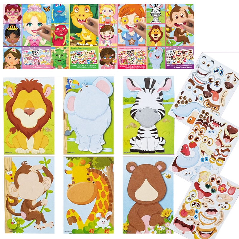 Kids DIY Stickers Puzzle Games Make-a-Face Princess Animal Dinosaur Assemble  Jigsaw Children Recognition Training Education Toy