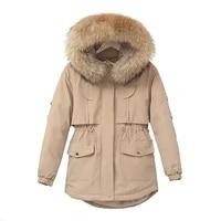 womens down jacket short loose turtleneck warm parkas snow outwear korean style big fur collar cotton coat winter clothes
