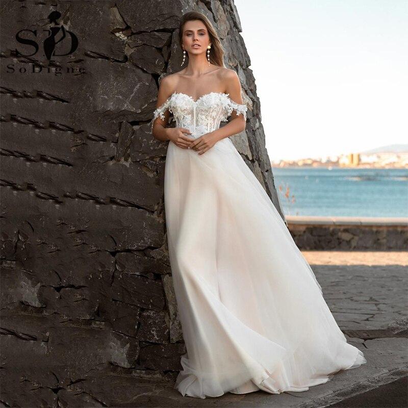 SoDigne 2021 فستان زفاف الشاطئ قبالة الكتف الدانتيل زين تول فساتين زفاف بوهو مشد فساتين زفاف حجم كبير