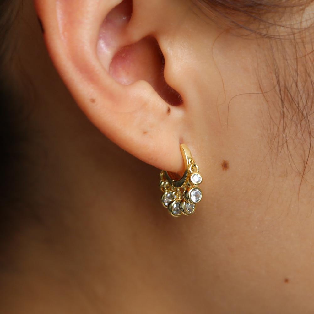 Pendientes de aro de Color dorado a la moda para mujer, pendientes bohemios de cristal cz, pendientes redondos de geometría 925, pendientes de plata, joyería de perforación