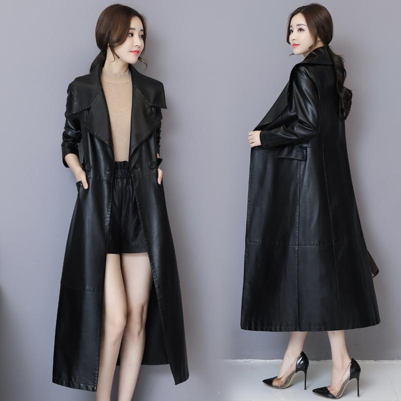 Fashion X-Long Black Leather Jacket Women Plus Size 5XL Turn-down Collar Slim Soft Pu Leather Trench Coat Female Overcoats enlarge