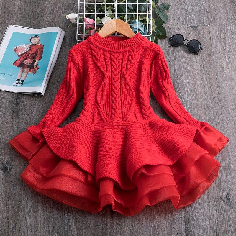 Otoño e Invierno 2020 nuevo suéter para niñas vestido de princesa tejido Puff hilado de aire exterior vestido para niñas pequeñas