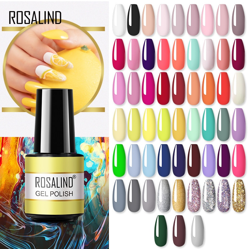 ROSALIND Gel Polish 7ML Gel Varnishes All For Manicure Nails Art Soak Off Base Top Coat Semi Permane