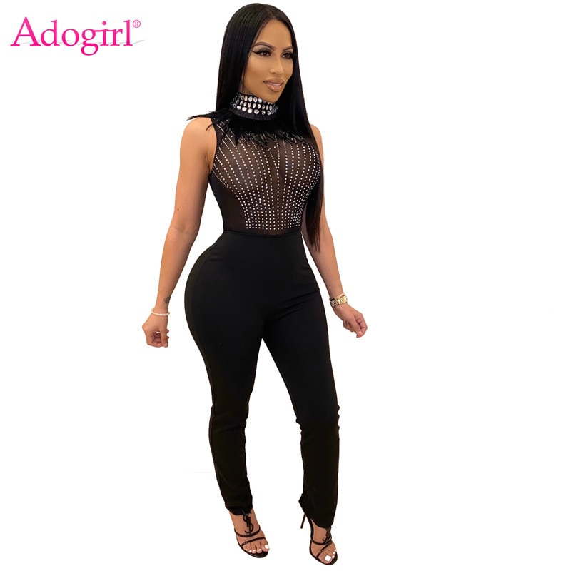 Adogirl 2020 Spring Feather Crystal Diamonds Sheer Mesh Jumpsuit Turtleneck Sleeveless Women Sexy Night Club Romper Overalls adogirl pearls feather diamonds sheer mesh party dress women sexy v neck sleeveless bodycon midi night club dresses vestidos