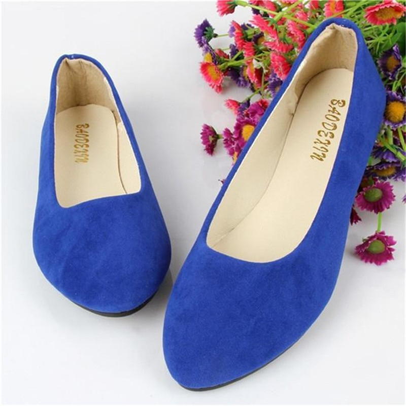 2020 Fashion Women Shoes Woman Flats High Quality Suede Slip-On Shoes Pointed Toe Rubber Women Flat Shoes Ballet Plus Size