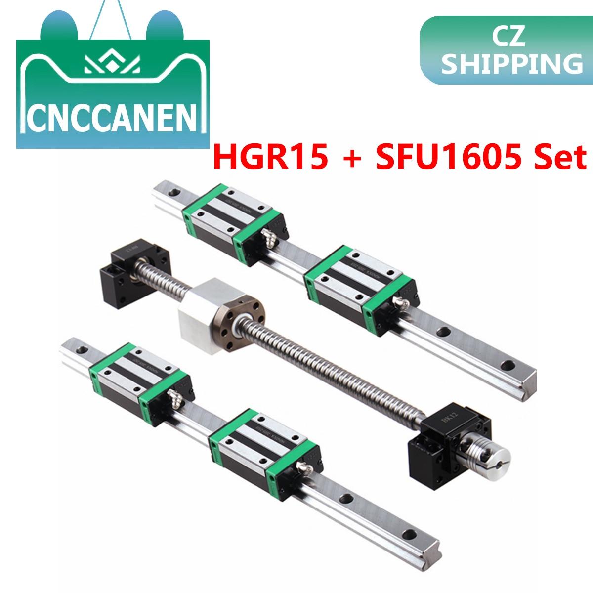 HGR15 مربع الخطي دليل السكك الحديدية 2 مجموعة HGR15 + كتلة HGH15CA + SFU1605 الكرة المسمار 5 مللي متر الرصاص + BK12BF12 CNC خطي المحرك تشيكوسلوفاكيا الأسهم
