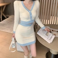 2021 spring autumn korean fashion style casual short long sleeve knitted cardigan sweater women high waist skirt two piece suit
