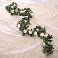 Шелковая искусственная Роза лоза висит цветы для настенный Рождественский ротанг, искусственные растения листья гирлянда романтическое с...