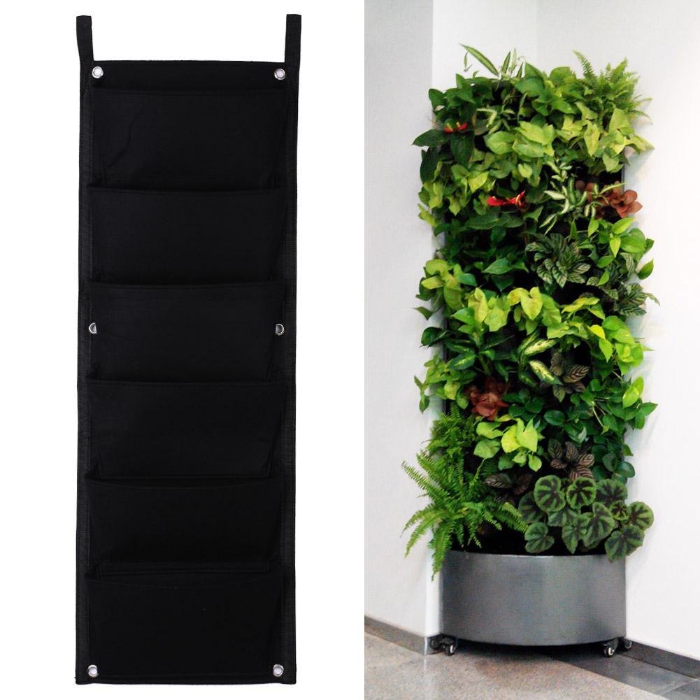6 Pockets Flower Pots Vertical Planter On Wall Hanging Felt Gardening Plants Green Field Grow Container Bags Indoor
