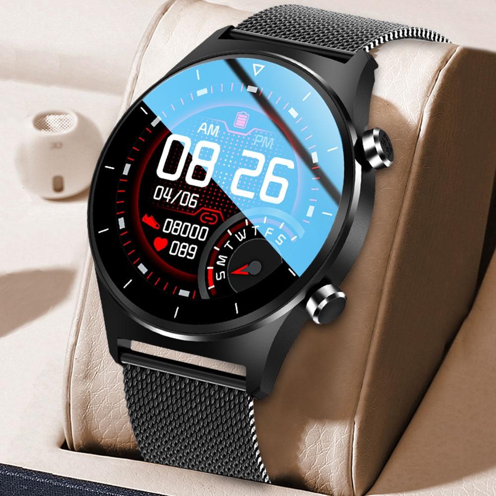 ساعة ذكية للرجال ساعة يد شخصية وجه IP68 مقاوم للماء شاشة تعمل باللمس الكامل بلوتوث 5.0 الرياضة جهاز تعقب للياقة البدنية 2021 جديد Smartwatch