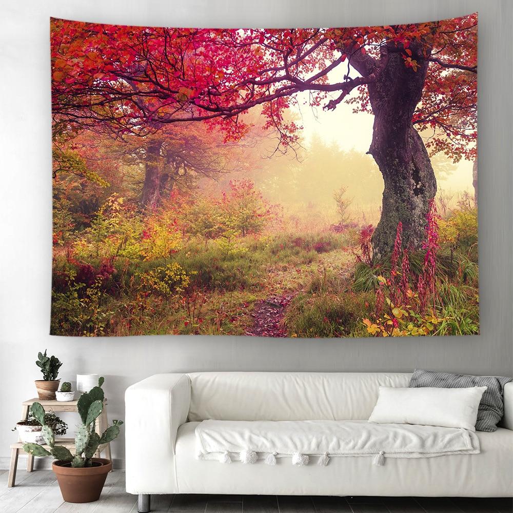 Гобелен для лесной тропы, гобелены для дорожек с деревом, настенные гобелены, красивый 3D обзор, природный пейзаж, гобелен для домашнего деко...